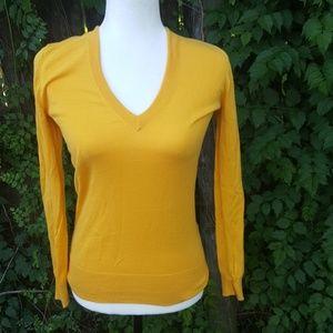 J. Crew Yellow V Neck Cotton Sweater XS